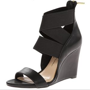 Jessica Simpson Maddalo Wedge Sandal Black Leather